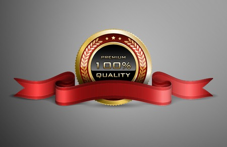 High detailed vector award ribbon isolated on dark gray background. 矢量图像