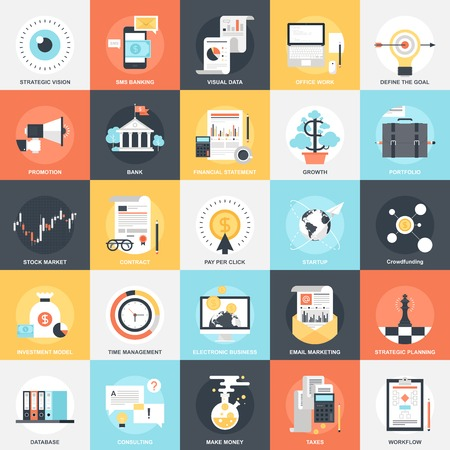 business analysis: Abstract vector collection of colorful flat business and finance icons. Design elements for mobile and web applications.