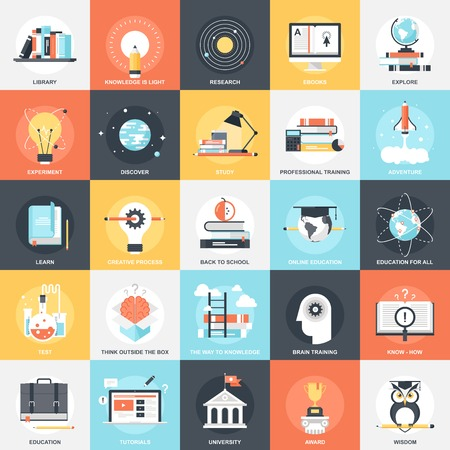 enseñanza: Colección de vectores de fondo de coloridos iconos de la educación y el conocimiento planas. Elementos de diseño de aplicaciones móviles y web.