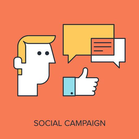 successful campaign: Vector illustration of social campaign flat line design concept.