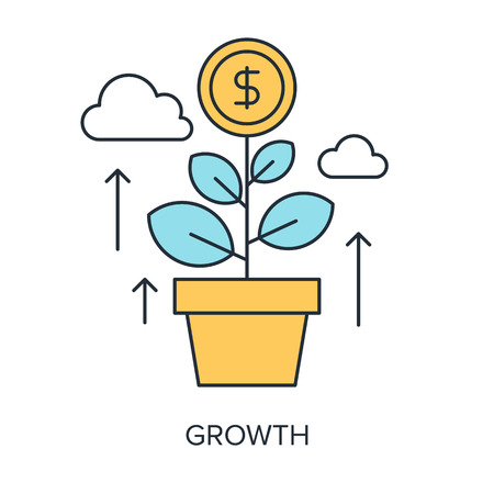 creative money: Vector illustration of growth flat line design concept.