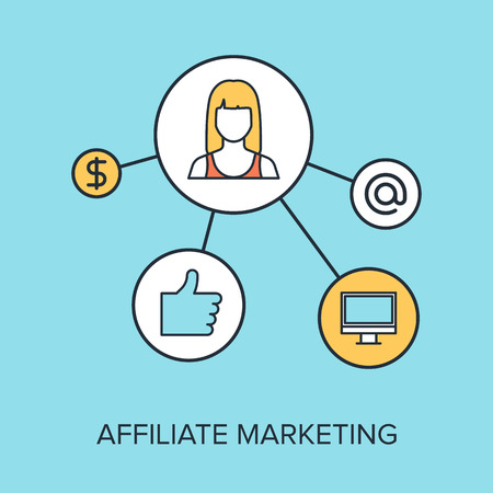 Vector illustration of affiliate marketing flat line design concept. Vector