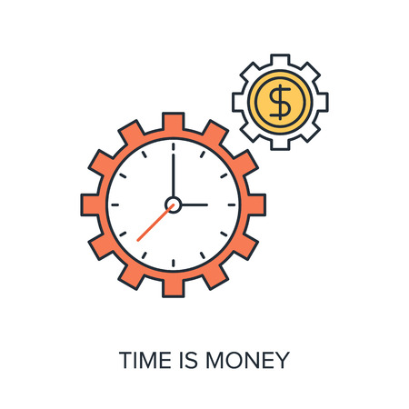 money time: Vector illustration of time is money flat line design concept.
