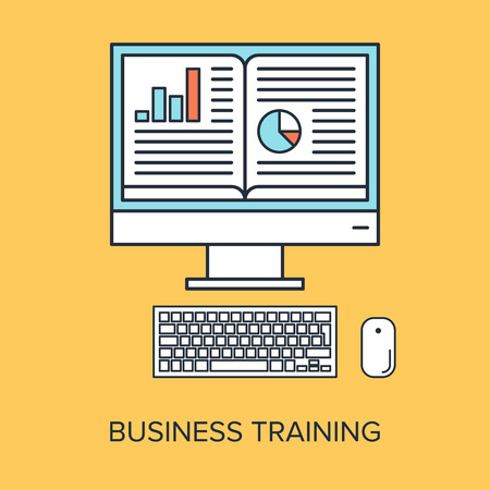 Vector illustration of business training flat line design concept. Vector