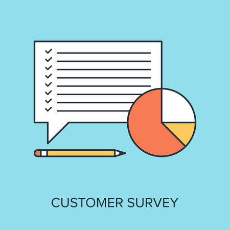 Vector illustration of customer survey flat line design concept. Vector