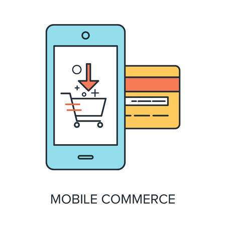 mobile commerce: Vector illustration of mobile commerce flat line design concept.