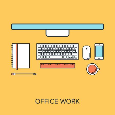 Ilustración vectorial de trabajo de oficina línea plana concepto de diseño. Foto de archivo - 34601787