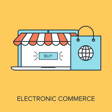 Vector illustration of electronic commerce flat line design concept. Vector