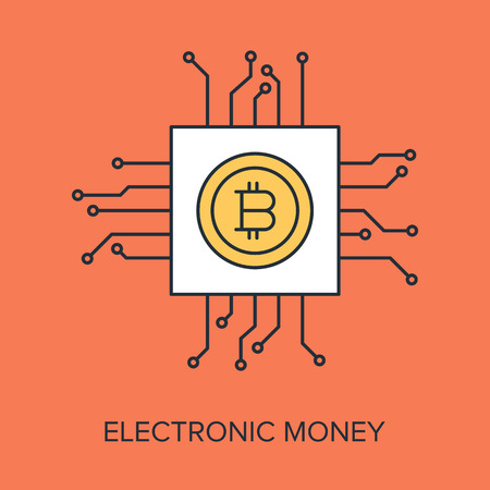 Vector illustration of electronic money flat line design concept. Vector