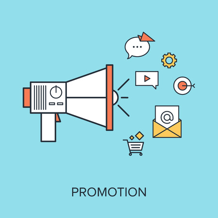 successful campaign: Vector illustration of promotion flat line design concept.