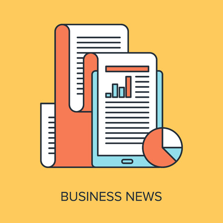 international news: Vector illustration of business news flat line design concept.