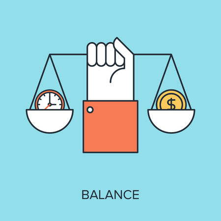 balance concept: Vector illustration of balance flat line design concept.