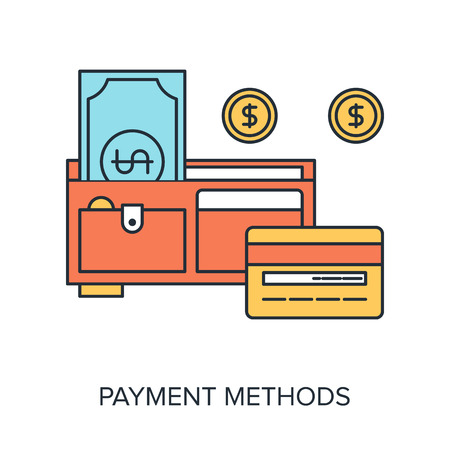 Vector illustration of payment methods flat line design concept. Vector