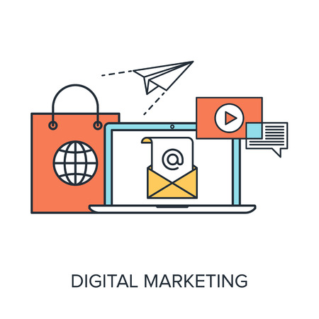 online marketing: Vector illustration of digital marketing flat line design concept. Illustration