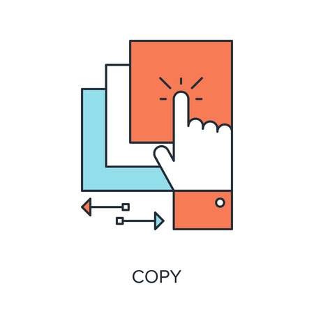 copy: Vector illustration of copy flat line design concept.