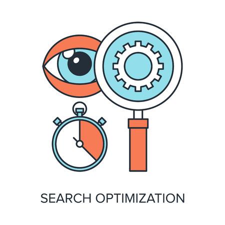 search optimization: Vector illustration of search optimization flat line design concept.