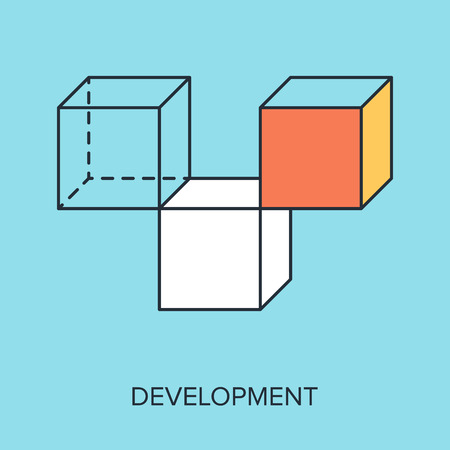 game design: Vector illustration of development flat line design concept. Illustration
