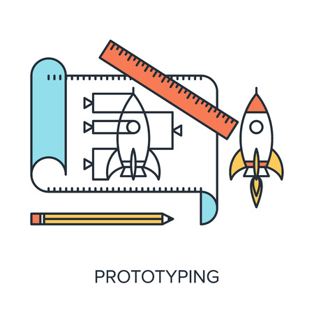 Vector illustration of prototyping flat line design concept.