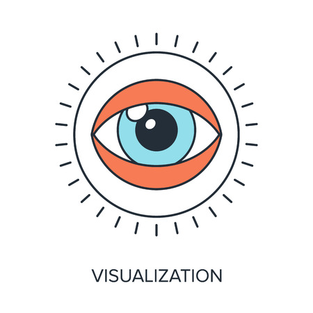 visualization: Vector illustration of visualization flat line design concept.