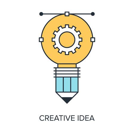 prototyping: Vector illustration of creative idea flat line design concept.