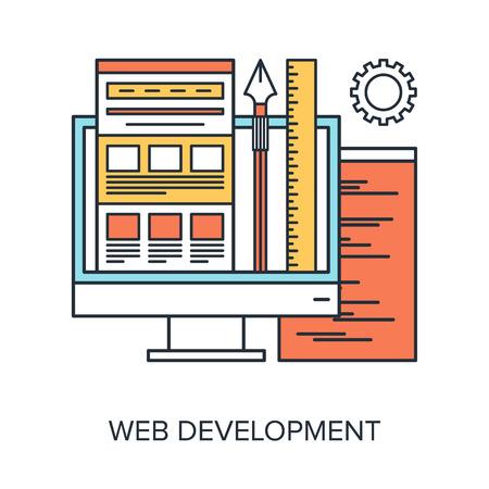 Vector illustration of web development flat line design concept.