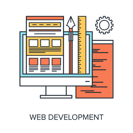 web technology: Vector illustration of web development flat line design concept.