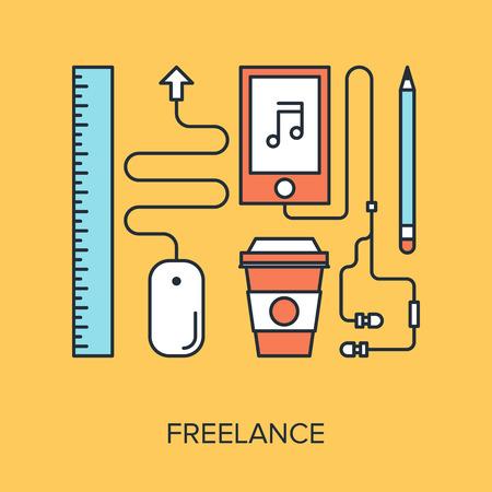 freelance: Vector illustration of freelance flat line design concept. Illustration