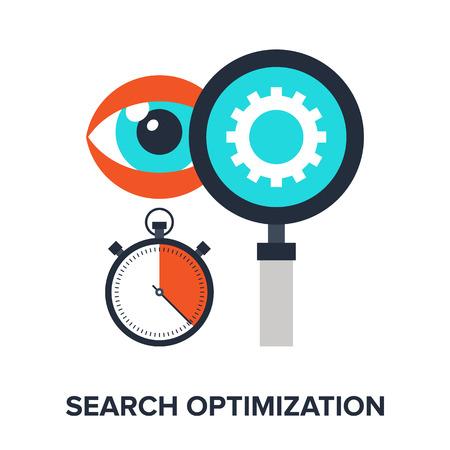 search optimization: Vector illustration of search optimization flat design concept.