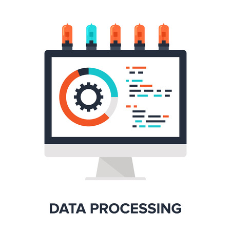 Vector illustration of data processing flat design concept.