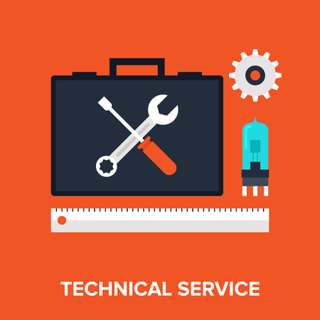 storage device: Vector illustration of technical service flat design concept.