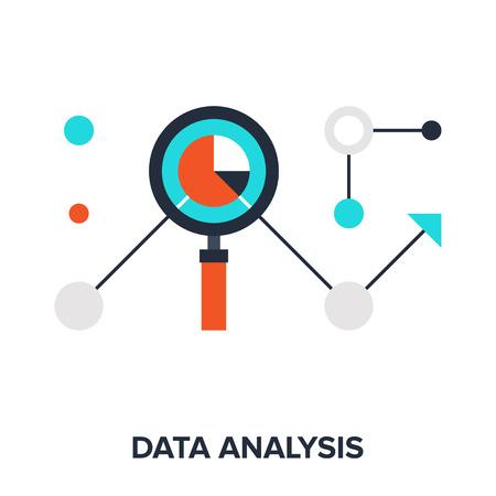 データ分析の平らな設計概念のベクトル イラスト。  イラスト・ベクター素材