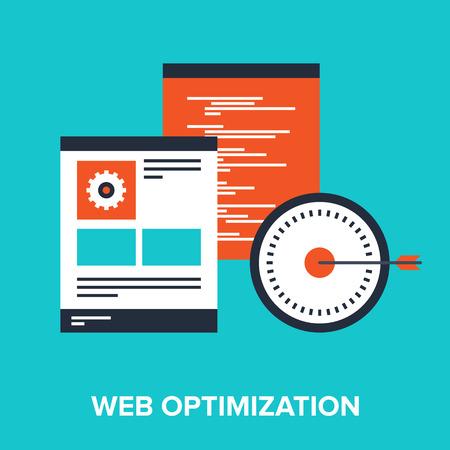 design solutions: Vector illustration of web optimization flat design concept.