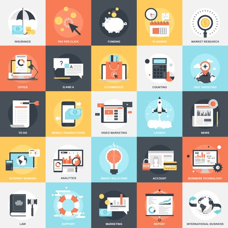 marketing research: Abstract vector collection of colorful flat business and finance icons. Design elements for mobile and web applications.