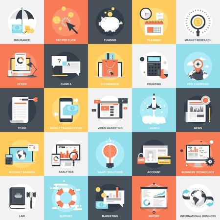 Colección de vectores de fondo de coloridos iconos de negocios y finanzas planas. Elementos de diseño de aplicaciones móviles y web. Ilustración de vector