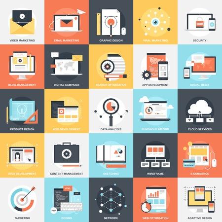 mercadeo en red: Colecci�n de vectores de fondo de colores SEO y desarrollo iconos planos. Elementos de dise�o de aplicaciones m�viles y web.