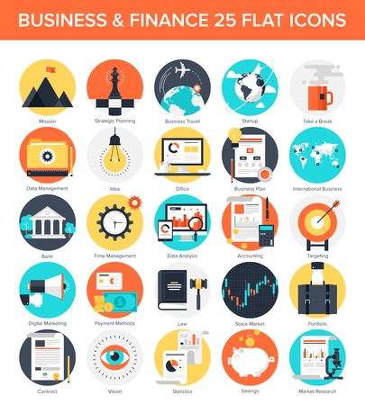 business analysis: Vector collection of colorful flat business and finance icons. Design elements for mobile and web applications.