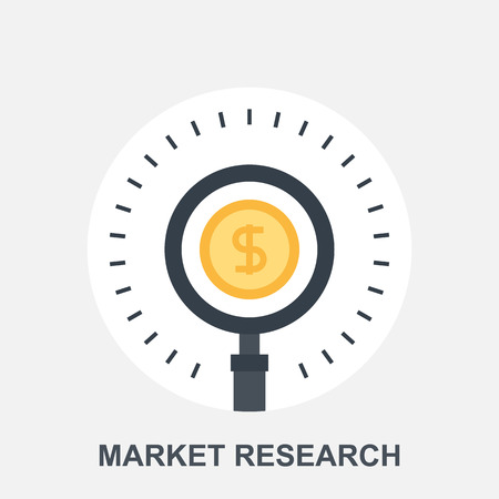 magnifying glass icon: Market Research Illustration