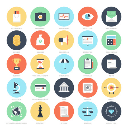 global finance: Business and Finance icons Illustration