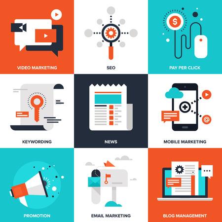 ikony: Digital Marketing ilustracji
