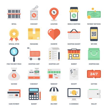 Einkaufs- und Commerce-Ikonen