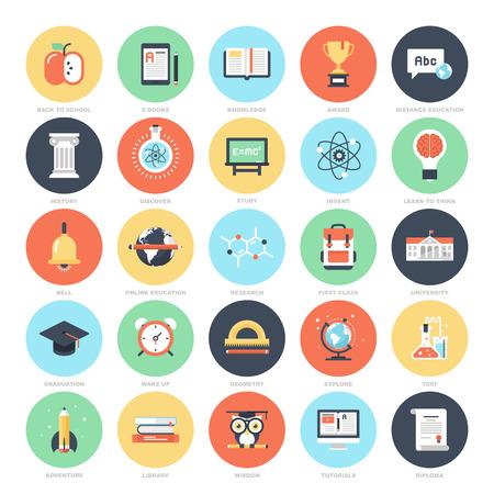 schulausbildung: Bildung und Wissen Symbole Illustration