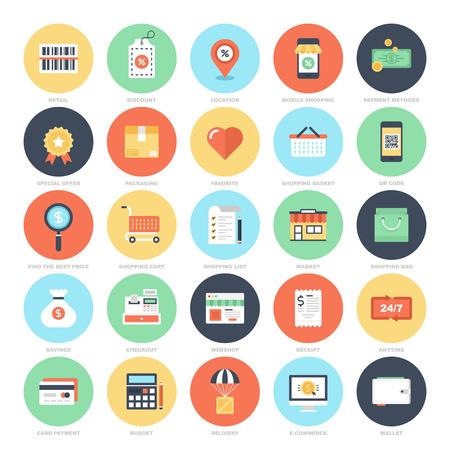 상업: 쇼핑 및 상업 아이콘 일러스트