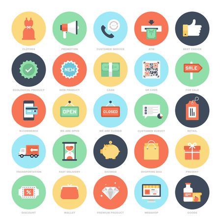 Shopping and Commerce icons Vector