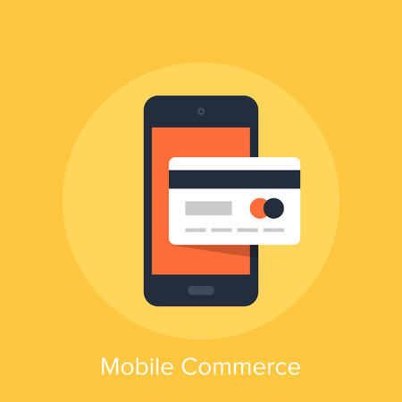 smart card: Vector illustration of mobile commerce flat design concept.