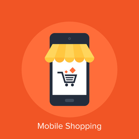 Vector illustration of mobile shopping flat design concept.