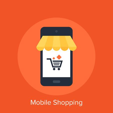Ilustración vectorial de compras móviles concepto de diseño plano.