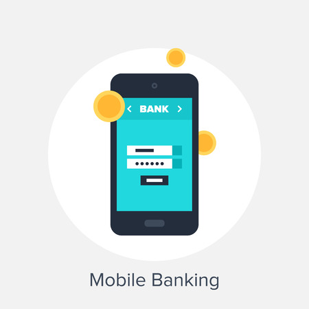 bank account: Vector illustration of mobile banking flat design concept.