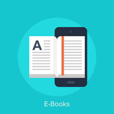 network and media: Vector illustration of electronic books flat design concept. Illustration