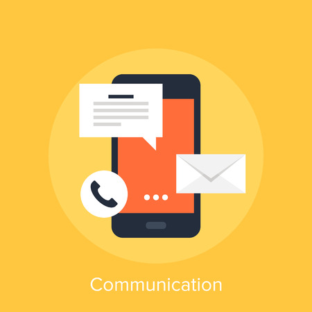 mobile communication: Vector illustration of mobile communication flat design concept. Illustration