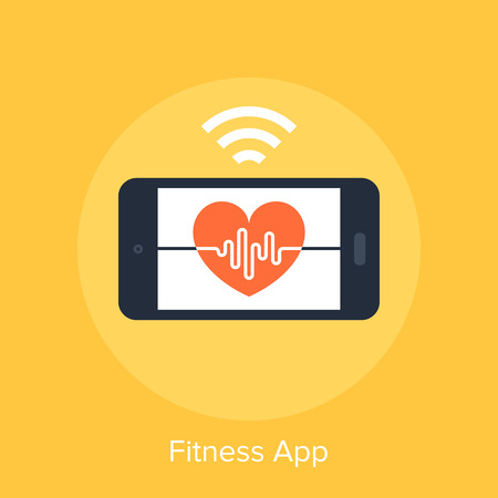 health and fitness: Vector illustration of fitness app flat design concept. Illustration